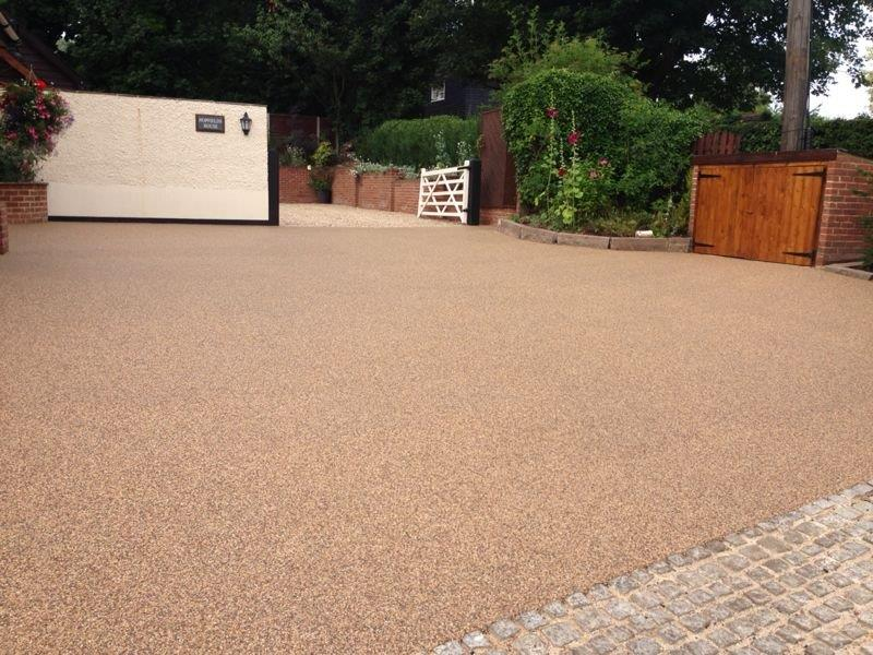 Complete resin bonded driveway in the countryside